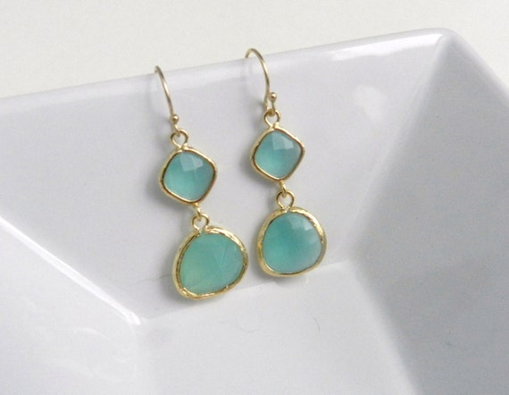 Mint and gold earrings, modern elegant bridal or everyday jewelry, minted