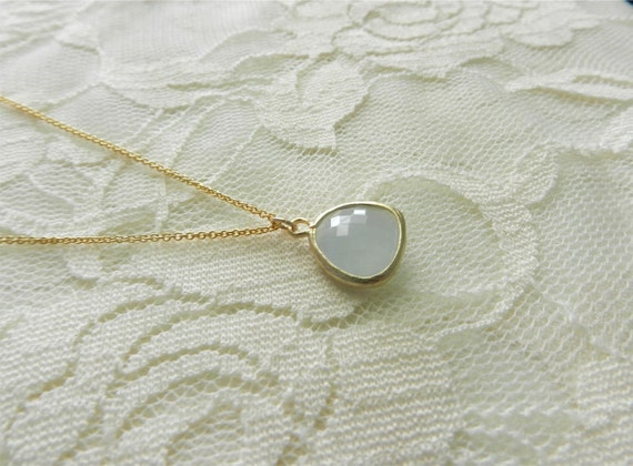 Alice blue jewel necklace on 14k gold filled chain, delicate modern jewelry SALE