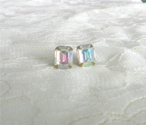 Aurora borealis vintage glass rhinestone earrings, modern elegant jewelry