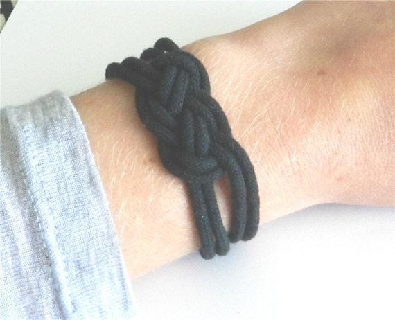 Black rope bracelet with silver toggle, square knot, modern friendship bracelet