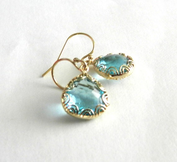 Aquamarine earrings in gold, Adele, lovely bridal or everyday jewelry