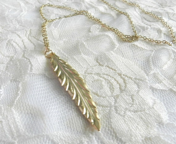 Long feather necklace, 28 inches, delicate modern jewelry LAST ONE