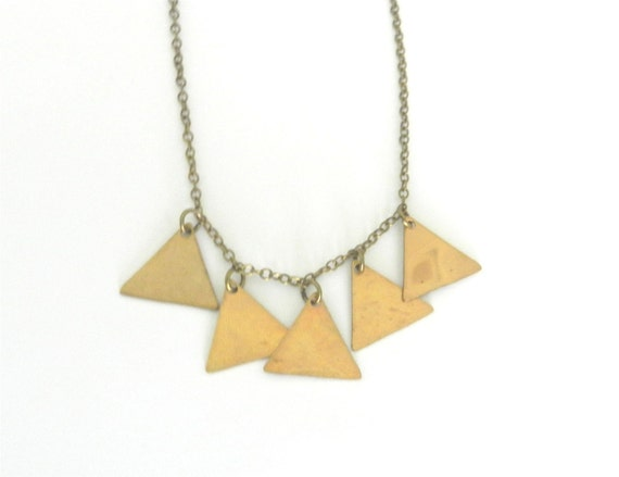 Brass tiny triangles necklace, little mountains, sleek modern jewelry -RESERVED for LIZ