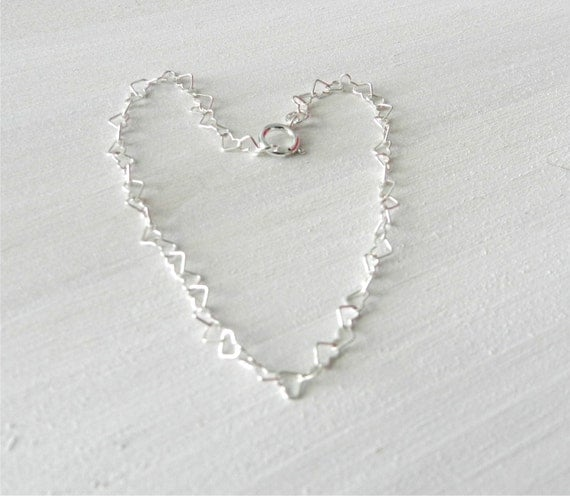 Tiny heart bracelet in sterling silver, lovely bridal or everyday jewelry SALE