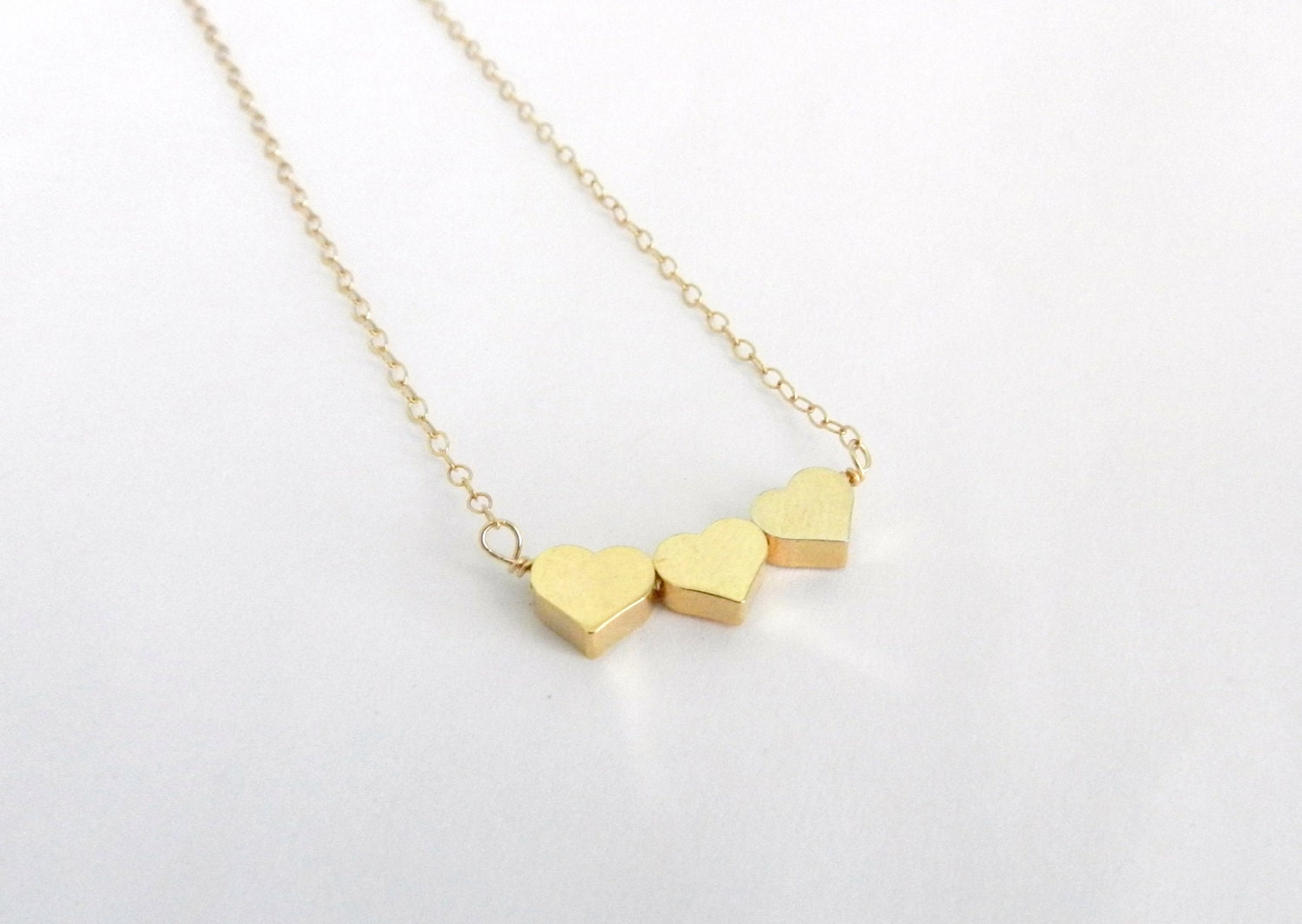 Tiny Heart Necklace Gold Triple Heart Sweet And Simple