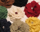 Bitty Blossoms Set of 8 Collegiate Colors FREE ELASTIC HEADBAND Fabric Flower Hair Clip or Pin