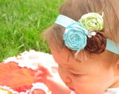Rolled Rosette Trio Turqouise Brown Lime FREE ELASTIC HEADBAND Fabric Flower Hair Clip or Pin