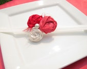 Rolled Rosette Trio Watermelon Ruby Ivory Fabric Flower Hair Clip or Pin