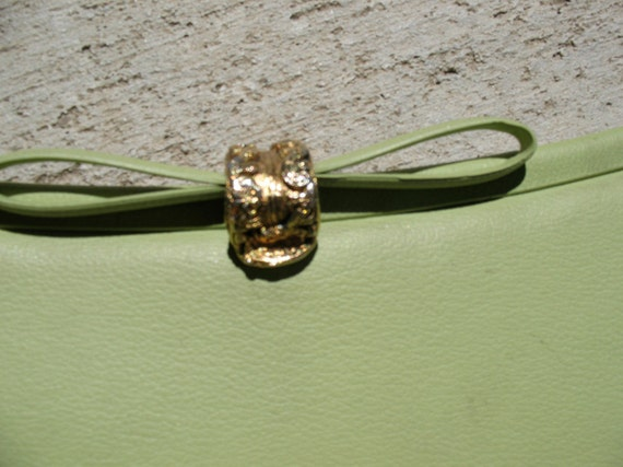Adorable Vintage lime green clutch handbag purse with bow and gold clasp