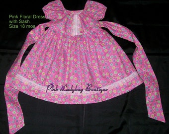 Pink Floral Dress - Size 18 Mos. Ready to Ship