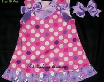 Girls Dots on Pink A-line Dress/Jumper  with Matching Hair Bow Ready to Ship in Size 18 Mos.