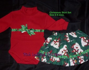 Red and Green Christmas Snowman Skirt Set - Size 6 to 9 Mos. is Ready To Ship