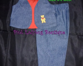 Blue Denim Vest and Pants Set is Ready to Ship in Size 6 to 9 Months