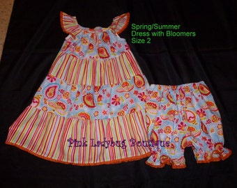 Toddler Girls Little Girls Bright Spring Summer Dress with Bloomers Ready to Ship in Size 2