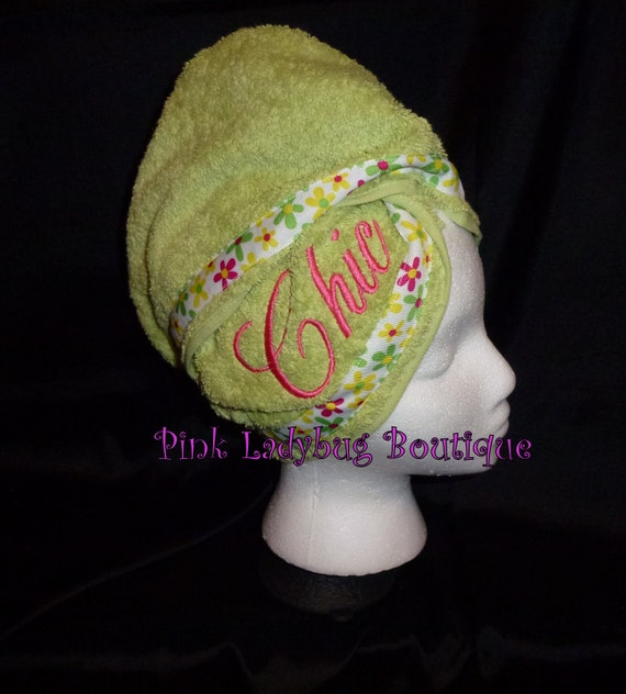 Hair Wash Turban - Lime Green Embroidered with Chic - Free Shipping