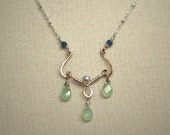 Temple Rain - hand-formed 14k gold fill pendant necklace with russian calcite, pearl, and sapphire