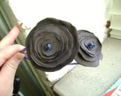 Libby-Dark Grey Suede Flower Headband with Blue Gemstones