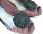Great Green Suede Flower Shoe Clips