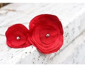 Ruby Red Dupioni Silk Two Flower Headband