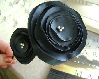 Evangeline-Matte Blue Satin Flower Headband