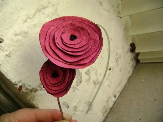 Jordan- Pink suede Flower Headband with Black Swarovski Crystals
