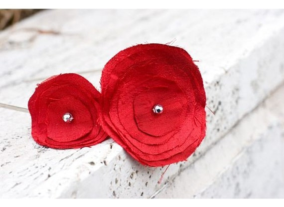 Ruby Red Dupioni Silk Two Flower Headband