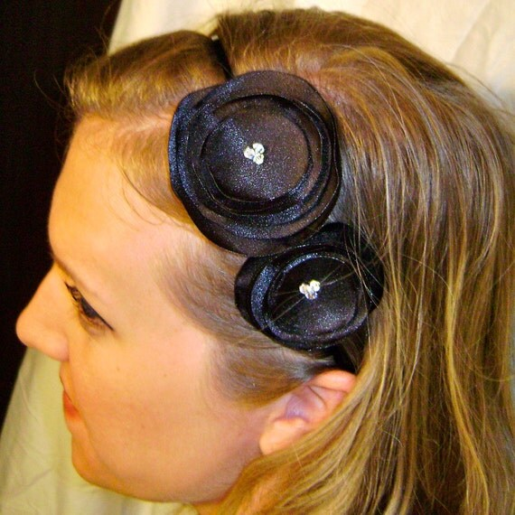 Black Flower Headband with faceted crystal centers