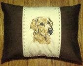 New Embroidered Golden Retriever Dog Accent Pillow New 12 x 16 Insert — Item 52