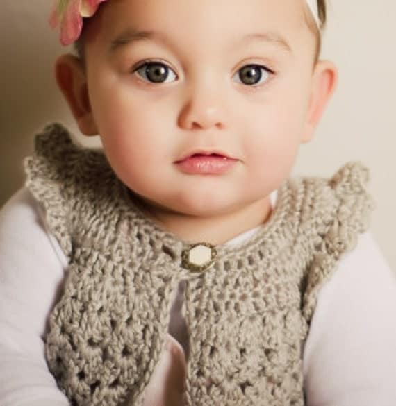 LUXURIOUS SILVER PINAFORE Vintage Silver Gray Hand Crochet Child Spring Easter Sweater Shrug 6 - 12 months Pewter Baby Glam