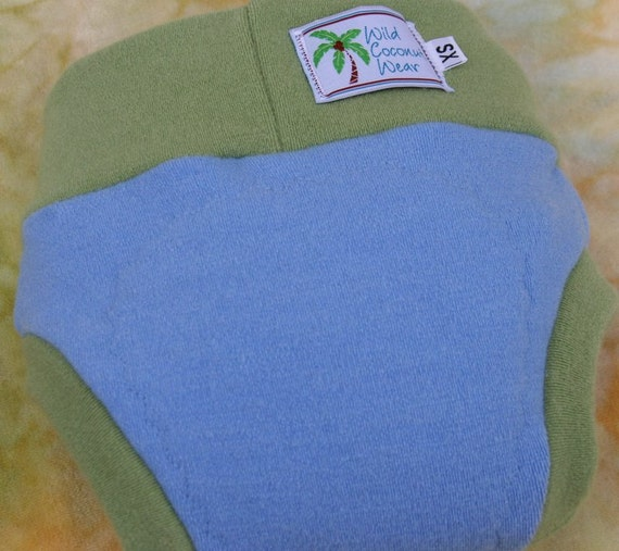 Wool Interlock Cloth Diaper Cover -  Extra Small XS  - Sky/Leaf