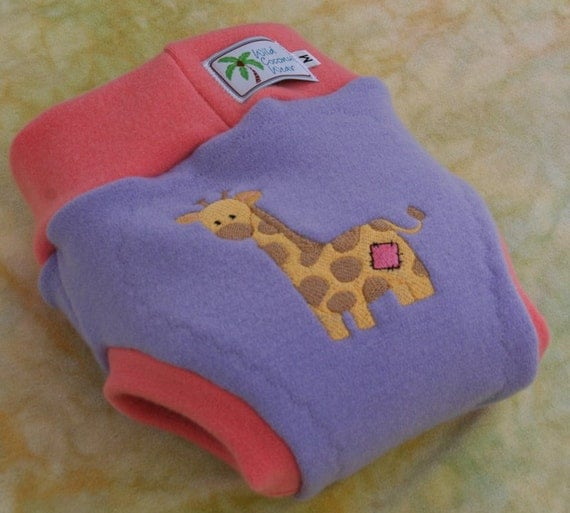 Cloth Diaper Cover Soaker - Pull On - Wool Interlock -  Small - Patchy Giraffe