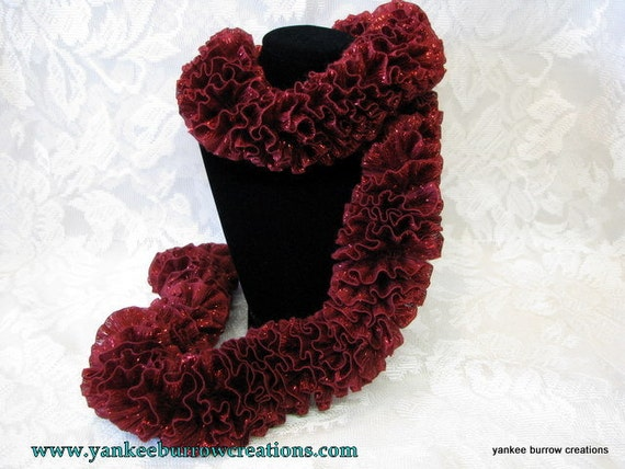 red sparkle ribbon knit scarf