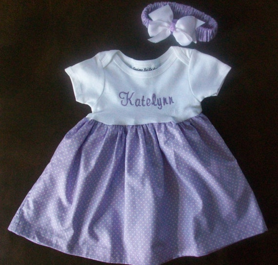 Monogrammed Appliqued Onesie Dress With Matching Fabric Headband and Hairbow...GREAT Gift Idea