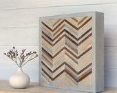Wood Sculpture Wall Art, Chevron Series, 11 1/2 x 11 1/2