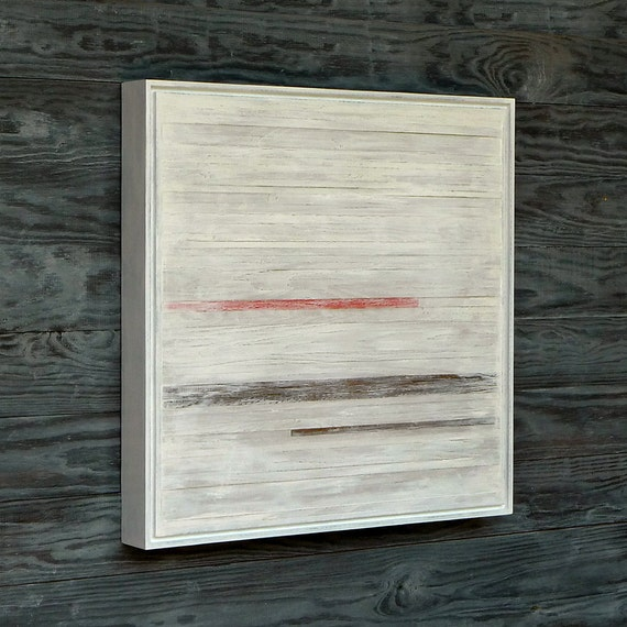 Original Wood Sculpture Art, Single, 20 x 20, Minimalist White with Reddish Orange and Dark Wood, Lightly Distressed White Frame