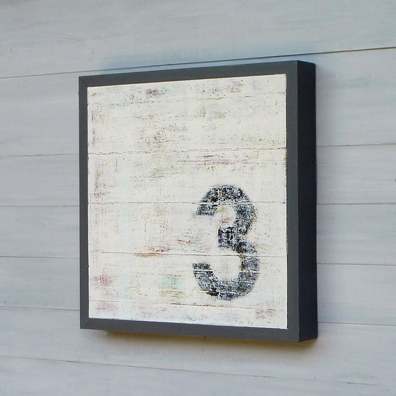 SALE, Original Modern Rustic Wood Sculpture Art, Number 3 Series, 16 x 16