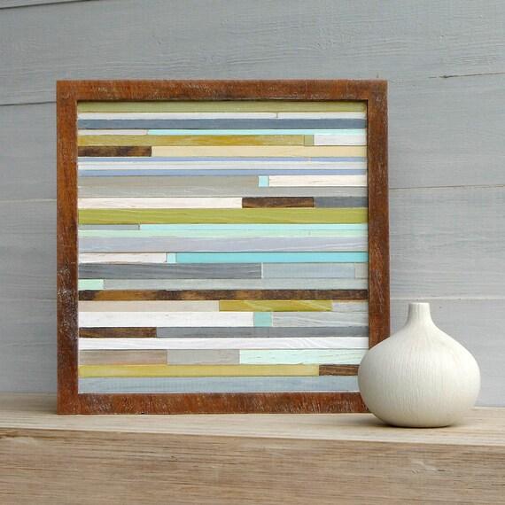 Rustic Modern Wood Art, Sea Glass Colors, 9 3/4 x 9 3/4