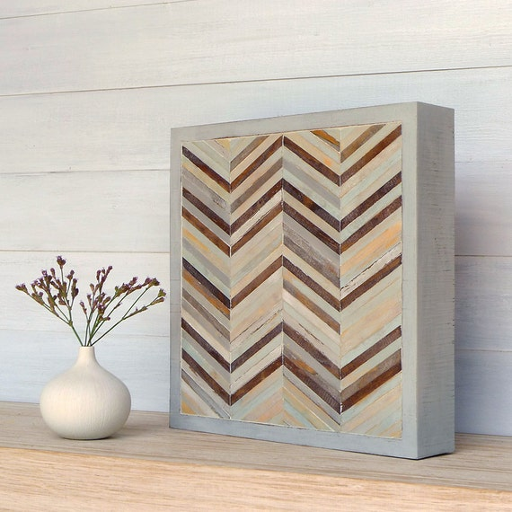 Wood Sculpture Wall Art, Chevron Series, 11 1/2 x 11 1/2