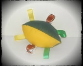 Football Shape Tag Along Baby Toy - Green & Yellow Fabric