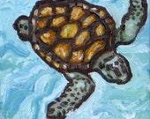 Original Artwork Oil Painting 6 x 6 Sea Turtle