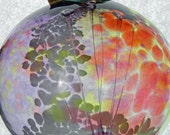 Art Glass 10 inch Fairy Ball with Lime Green, Purple, Red, Orange & White Copper Wrapped for Hanging