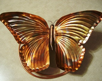 Butterfly Art,  Copper Butterfly Wrap Around, 12 inch Butterfly Wing Span, Brindled Copper