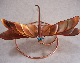 Dragonfly Art, Copper Dragonfly Wrap Around Brindled, 11 inch Dragonfly Wing Span