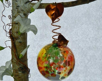 Art Glass Ball, Art Glass Fairy Orb in Red, Green, Yellow, White, Lime Copper Wrapped for Hanging