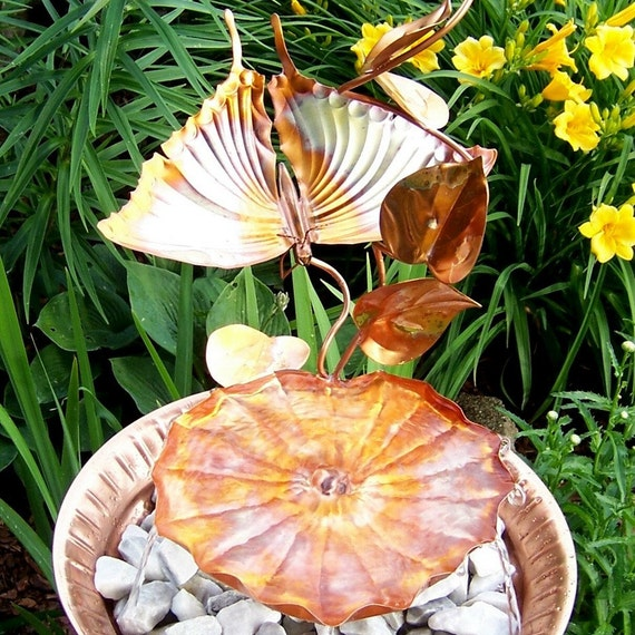 Copper Garden Sculpture Birdbath Fountain Swallow Tail Lily Vine II