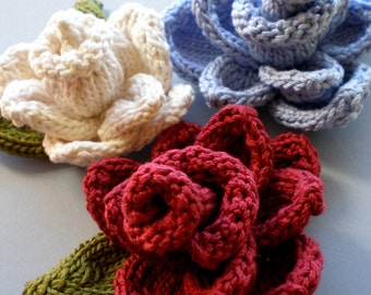 PDF Knit Flower Pattern - Rose Flower