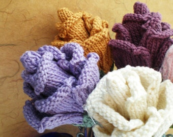 PDF Knit Flower Pattern - Rose Bud Flower