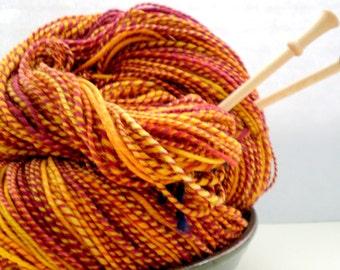2 Hanks Handspun Mero Wool Yarn - Golden Eggplant