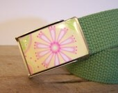 Garden Belt (Ready to Ship) shown on a sage green strap