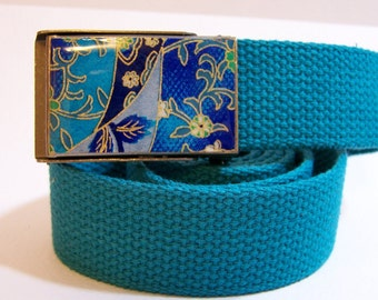 Bright Blue Belt (Ready to Ship) shown on teal strap